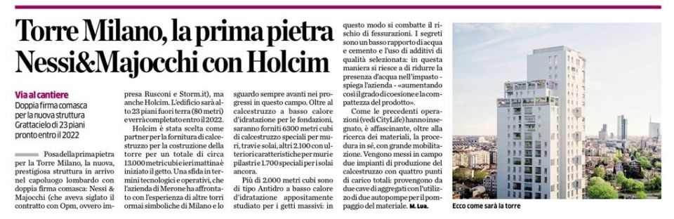 TORRE MILANO, THE FIRST STONE NESSI & MAJOCCHI WHIT HOLCIM