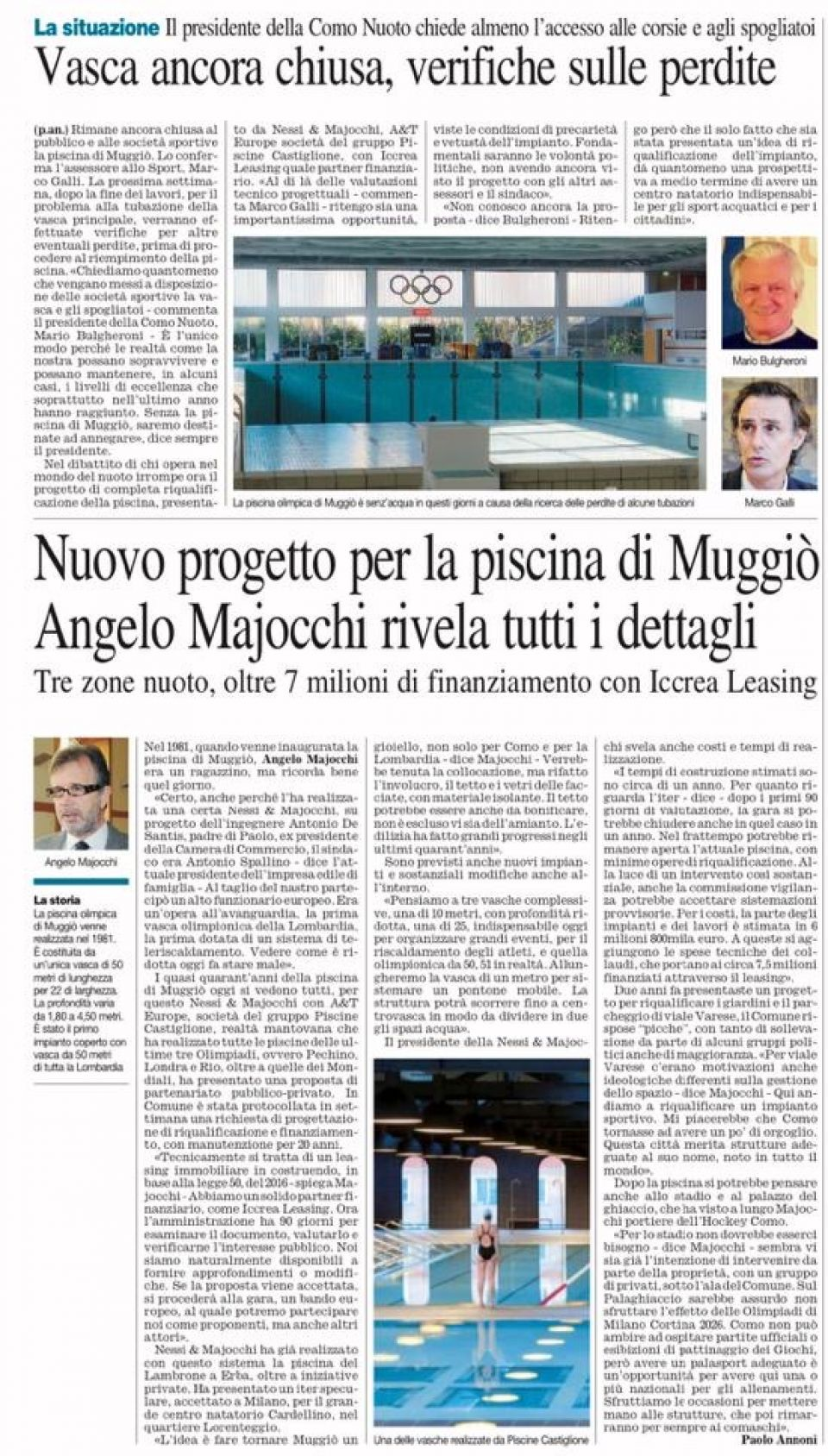 NEW PROJECT FOR THE POOL IN MUGGIÒ - ANGELO MAJOCCHI REVEALS ALL THE DETAILS